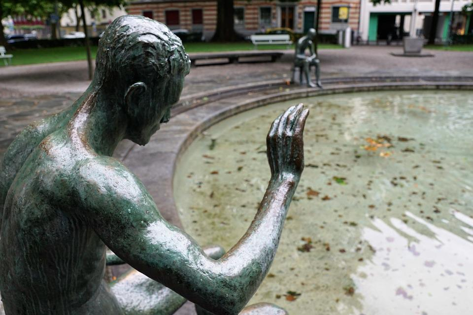 Fountain, Zurich, Man, Naked, Water, Sculpture