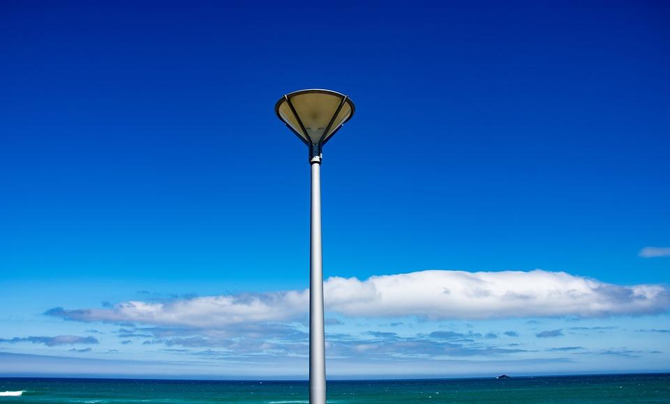 Beach, Light, Lamp Post, Lamp, Sea, Sky, Nature, Water
