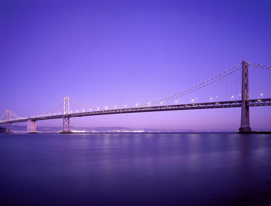 Bridge, Sea, Water, Sky, Suspension Bridge, Nature