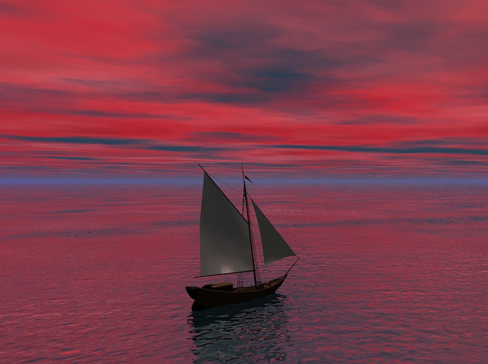 Sea, Ocean, Water, Ship, Sail, Sailing, Beautiful, Red
