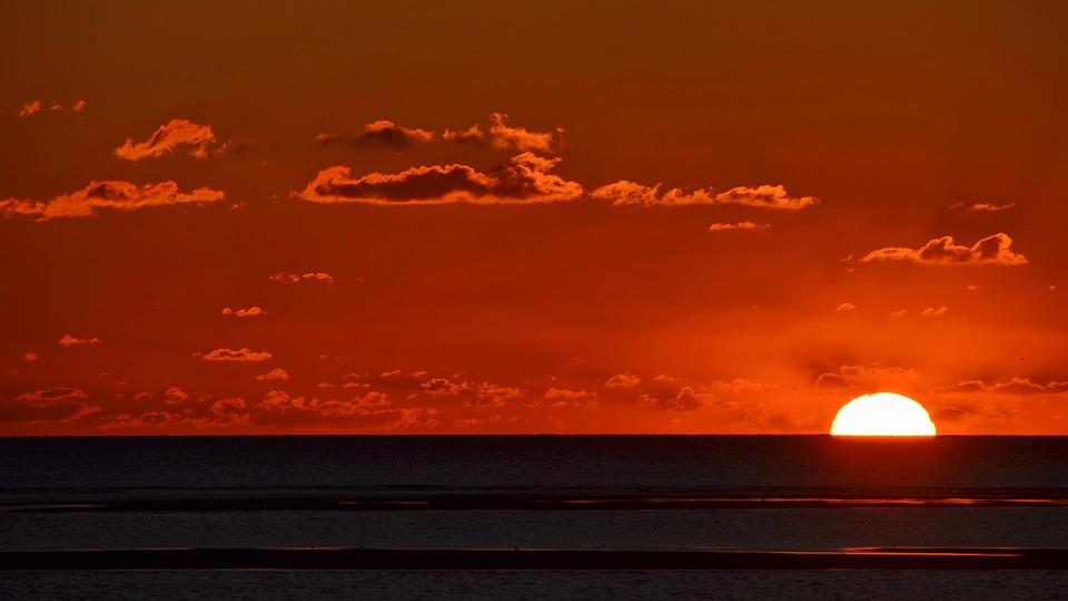 Sea, Clouds, Sky, Sunset, Water, Sun, Evening Sky, Blue