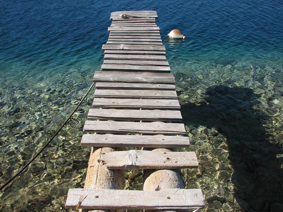 Croatia, Sea, Pier, Water, Wood, Nature, Outside, Sunny