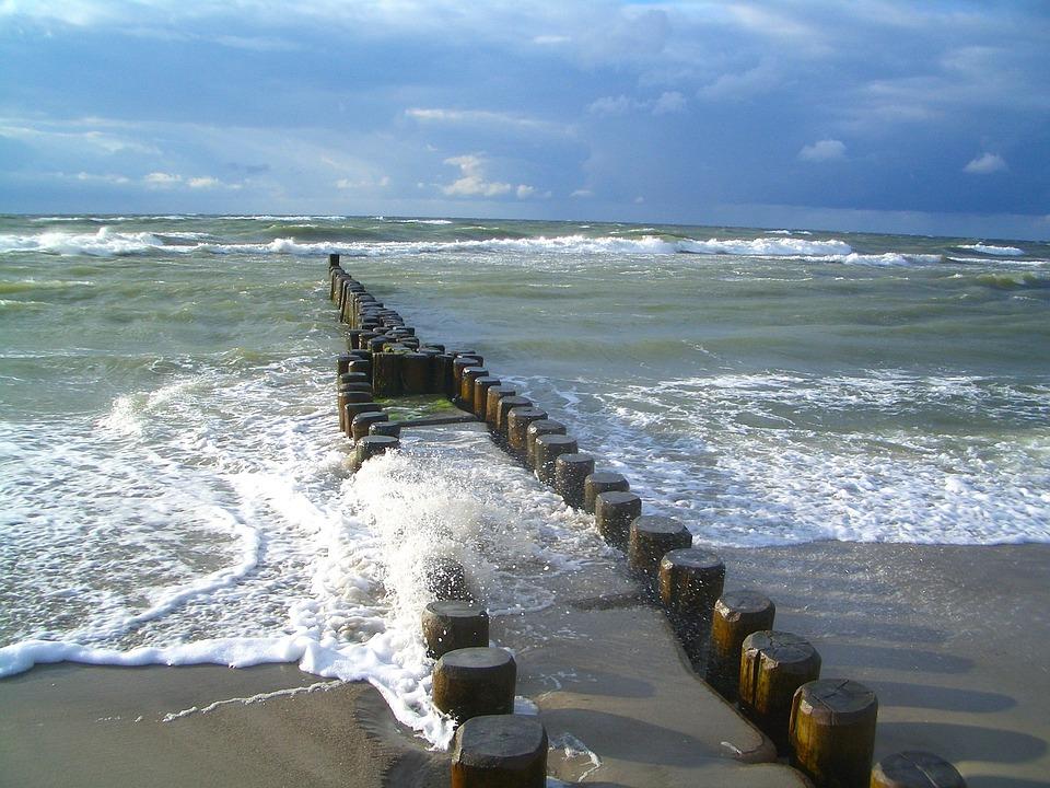 Sea, Ocean, Water, Sky, Clouds, Barrier, Nature
