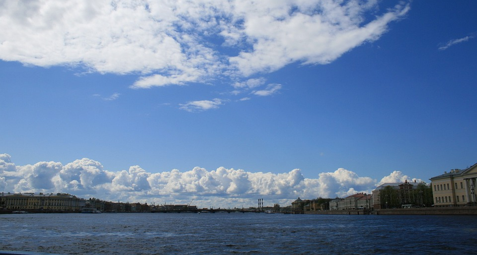 River, Neva, Water, Wide, Sky, Blue, Clouds, Packed