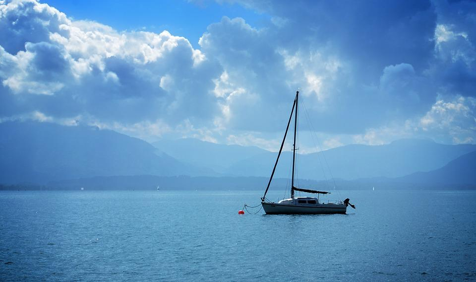 Sailing Boat, Water, Lake, Haze, Leisure, Sky, Clouds
