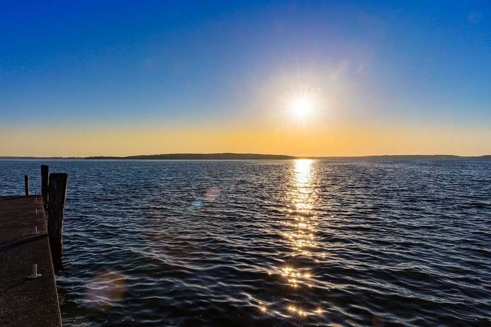 Sunset, Water, Lake, Jetty, Sea, Landscape, Sky, Dusk