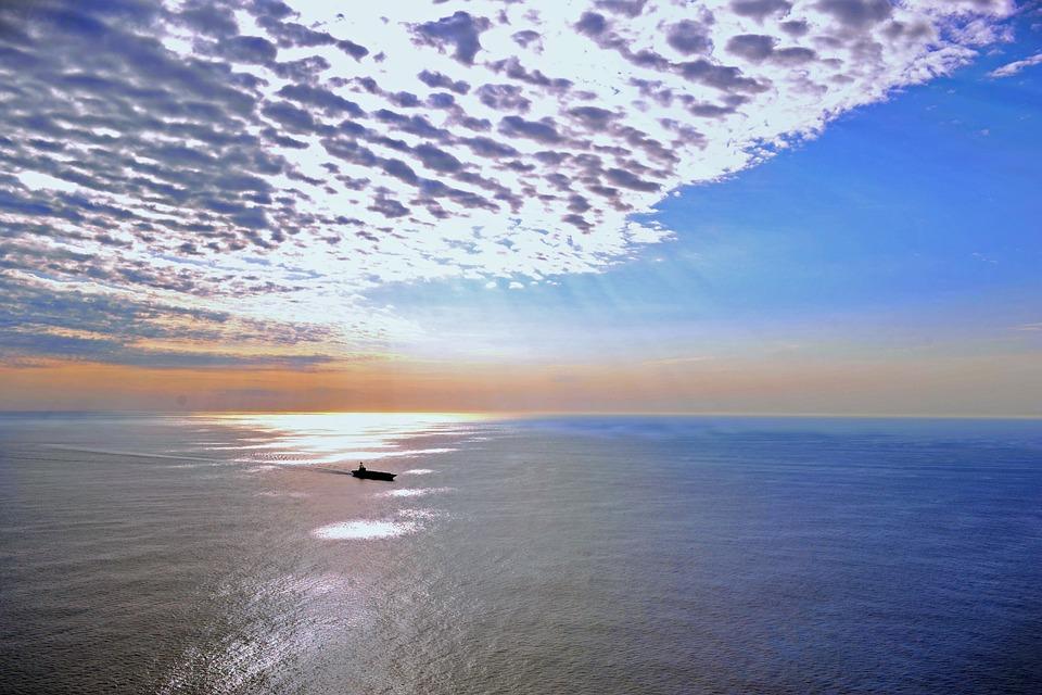 Ship, Navy, Sky, Clouds, Sea, Ocean, Water, Outside
