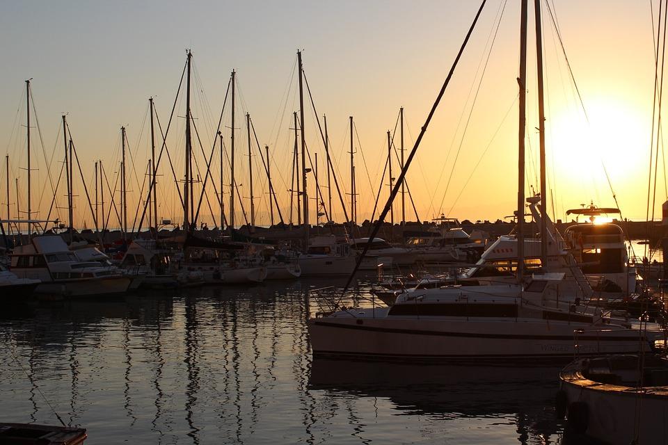 Water, Sea, Harbor, Pier, Sailboat, Yacht, Sunset, Sky