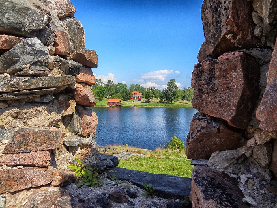 Sweden, Lake, Water, Reflections, Sky, Clouds, Stones