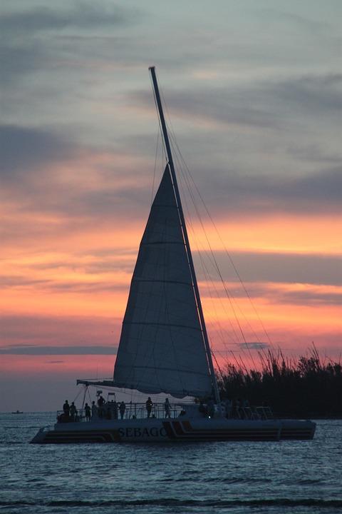 Sunset, Boat, Key West, Water, Sky, Ocean, Travel