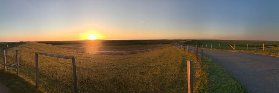 North Sea, Sunset, Vacations, Sea, Sky, Water