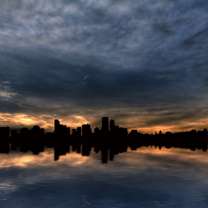 Skyscrapers, City, Skyline, Water, Water Reflection