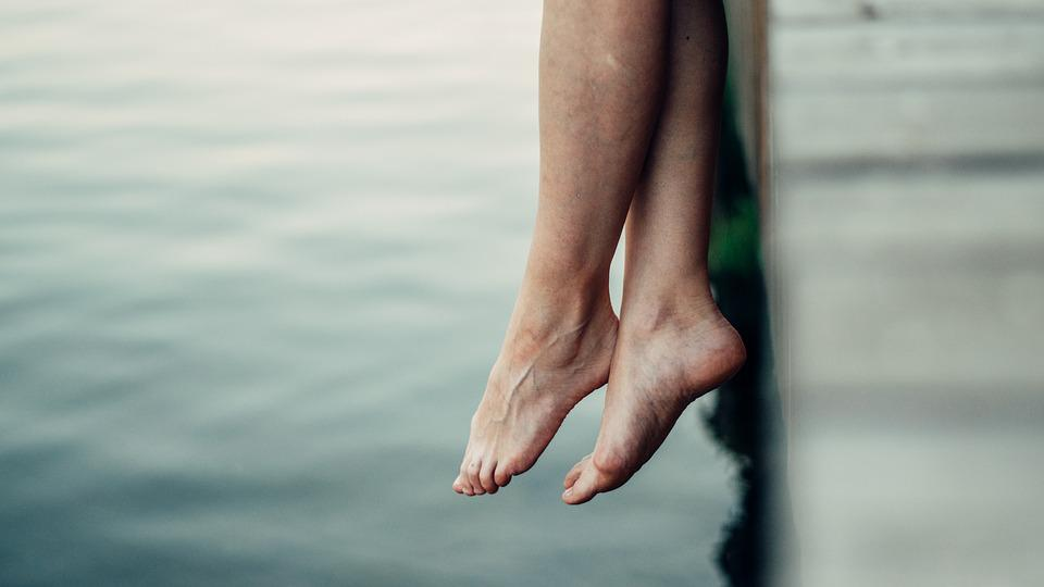 Legs, Water, Small River, Hanging, Tree, Woman, Man