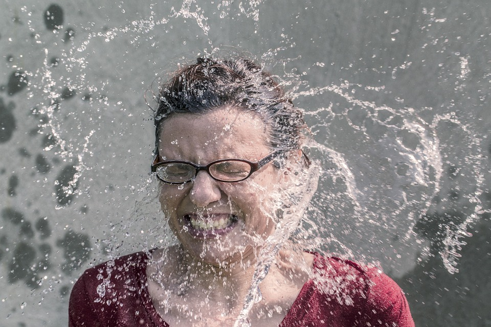 Refreshment, Splash, Water, Woman, Spectacles, Glasses