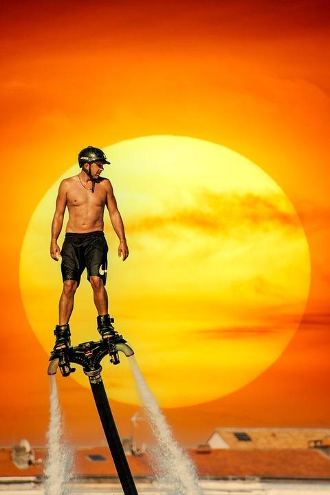 Flyboarding, Water Sport, Man, Sunset, Water Sports
