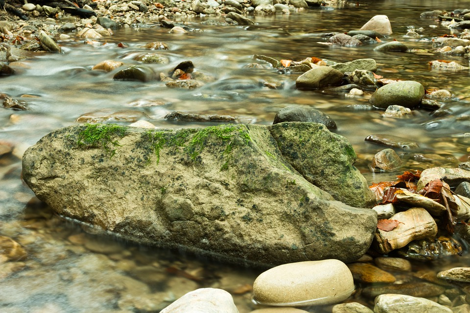 Stone, Green, Long Exposure, Water
