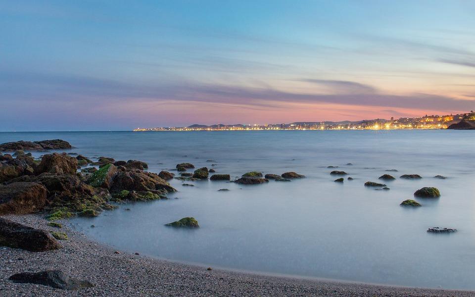 Costa Del Sol, Beach, Sand, Sea, Water, Wave, Stones