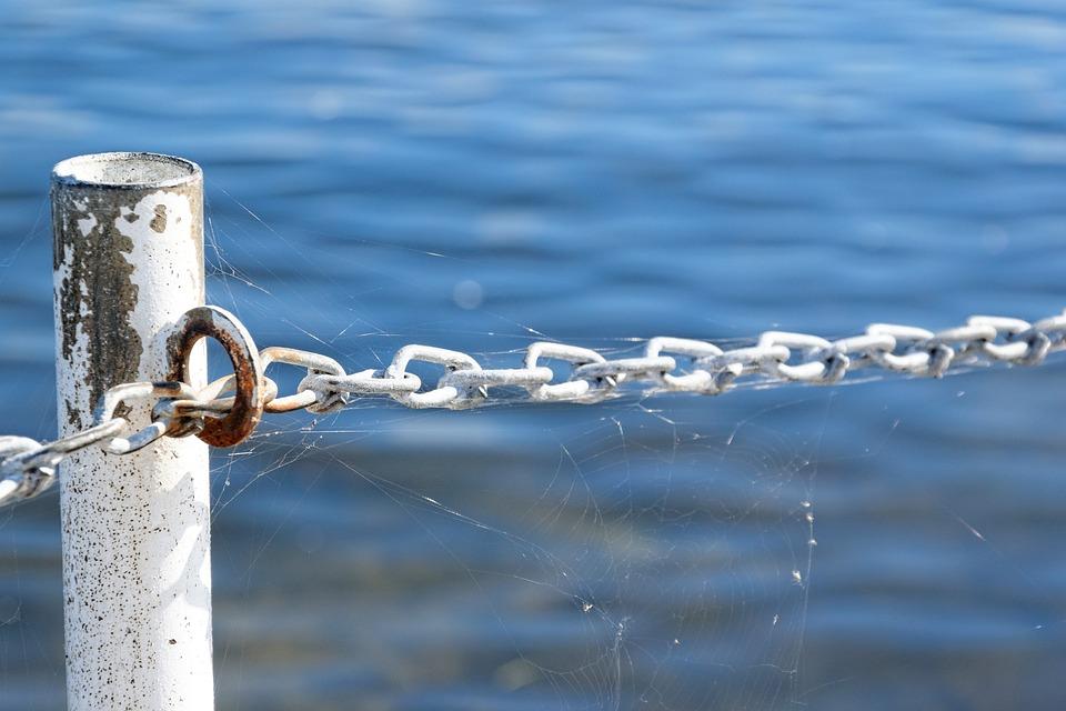 Water, Chain, Barrier, Stralsund
