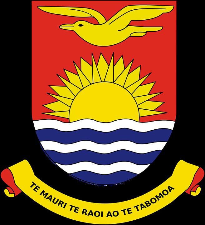 Water, Sun, Ribbon, Bird, Flying, Coat, Arms, Kiribati