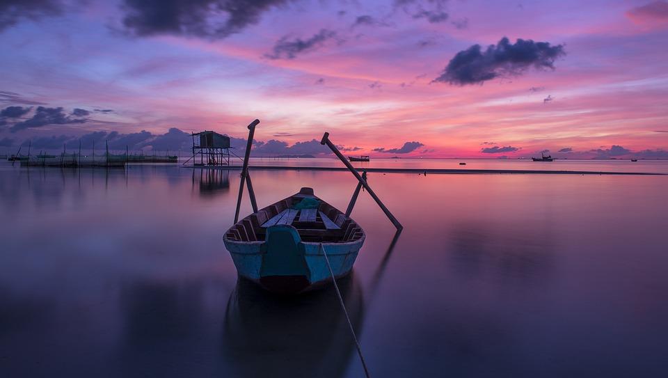 Boat, Sea, Sunrise, Sunset, Wooden Boat, Water