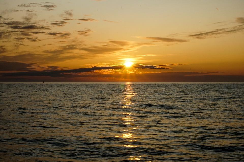 Sunset, Sea, Ship, Water, Boat, Ocean, The Sun