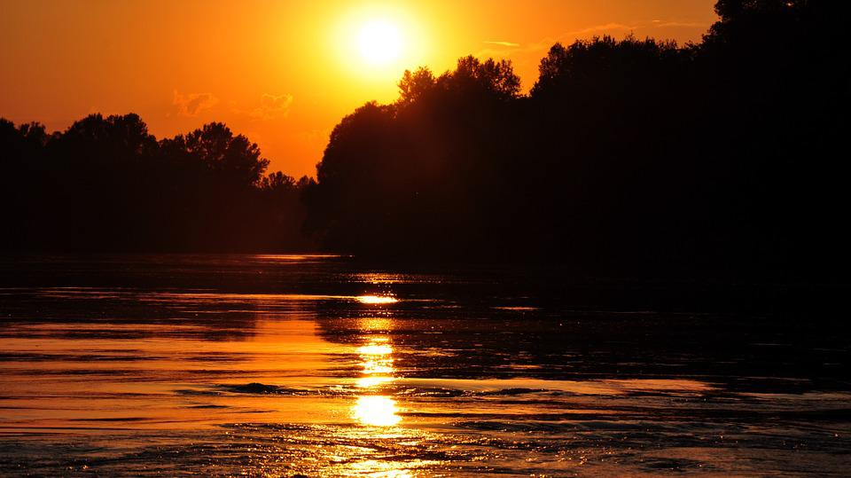Drava, Sunset, River, Water