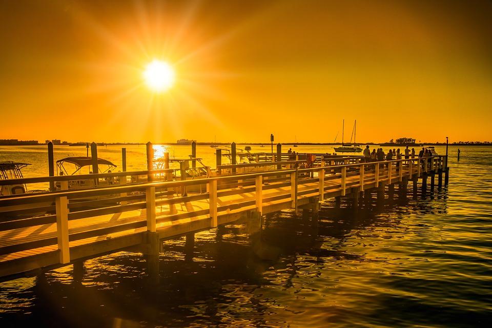 Dock, Gulf, Sunset, Dunedin, Marina, Water, Boat