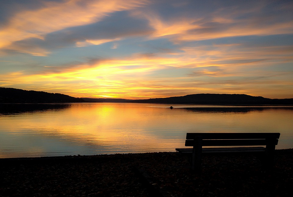 Sunset, Dusk, Water