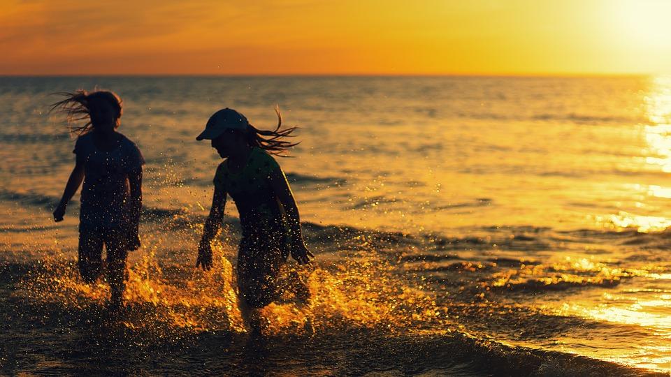 Beach, Sunset, Girl, Joy, Fun, Ocean, Sea, Water, Wave