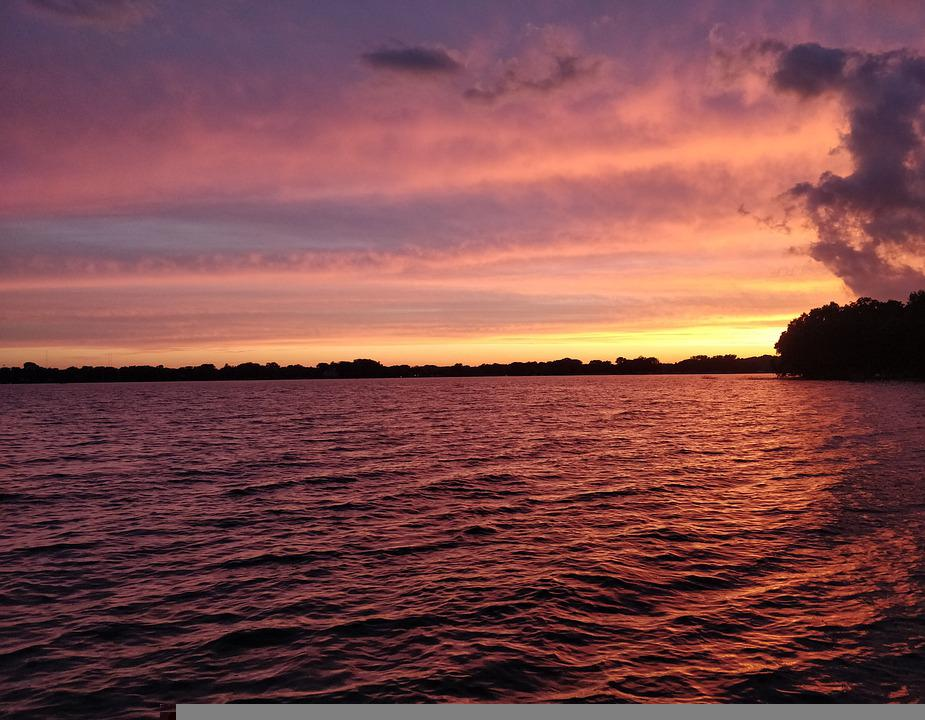 Lake, Sunset, Sky, Nature, Water, Reflection, Clouds