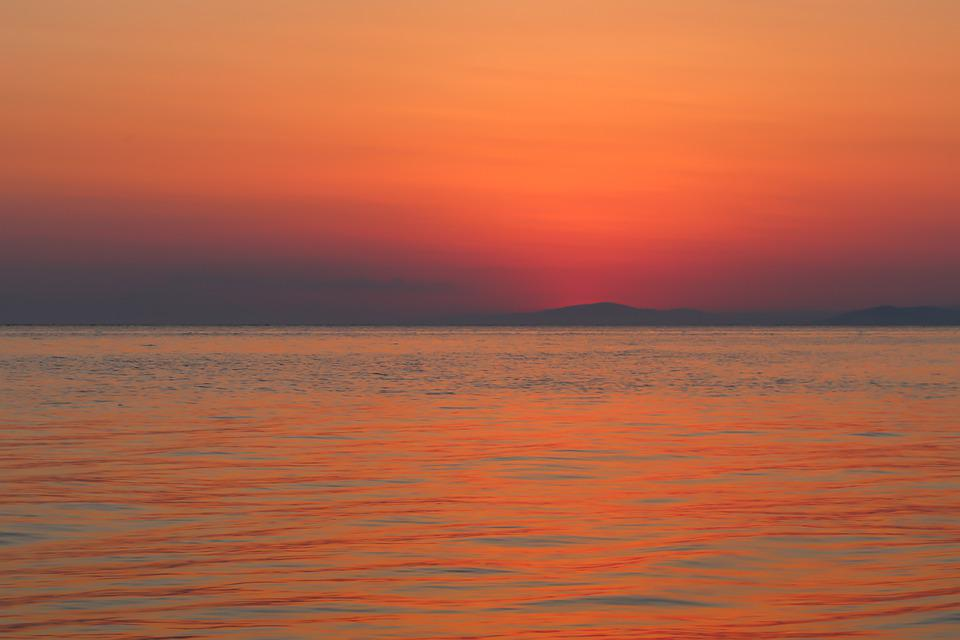 Sunset, Sea, Sky, Water, Reflection, Clouds, Dusk