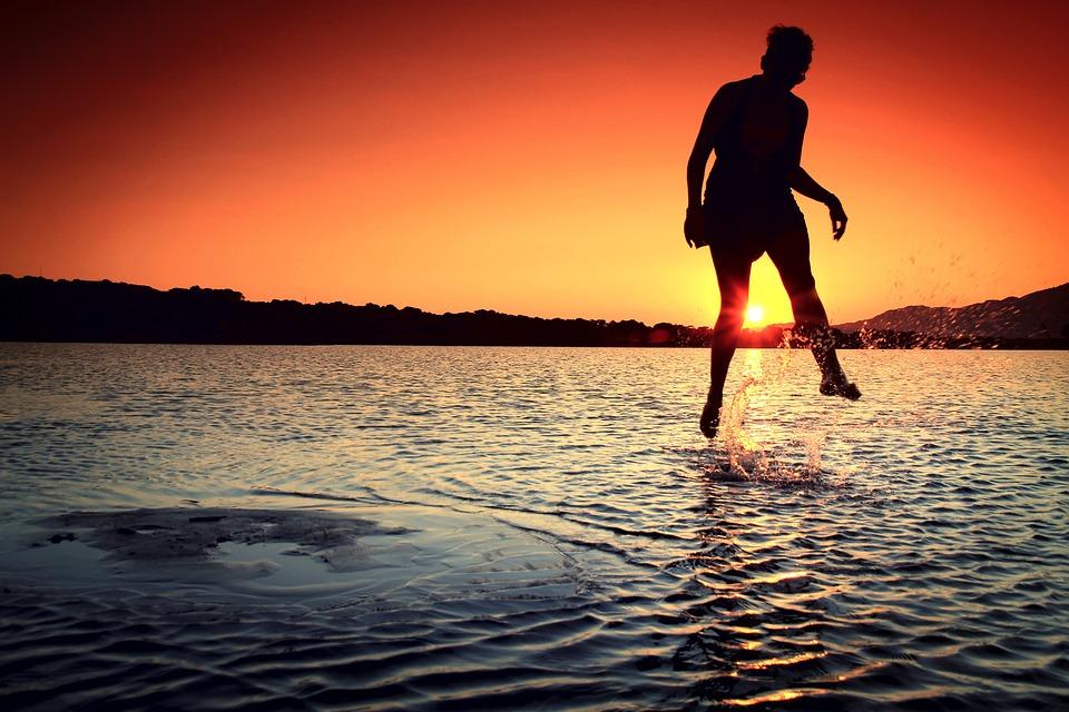 Girl, Jump, Water, Wonder, Nature, Sea, Sunset