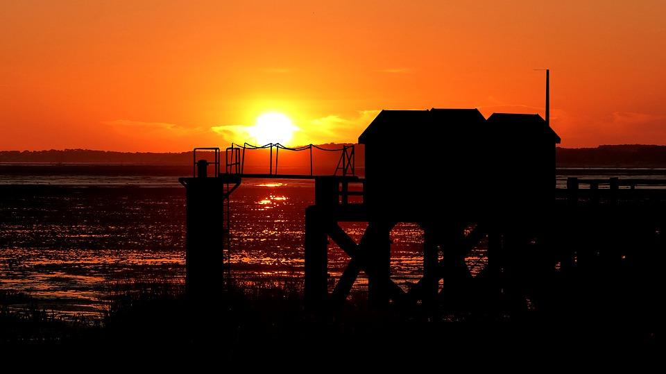 Sunset, Ocean, Wharf, Sea, Water, Sky, Twilight, Nature