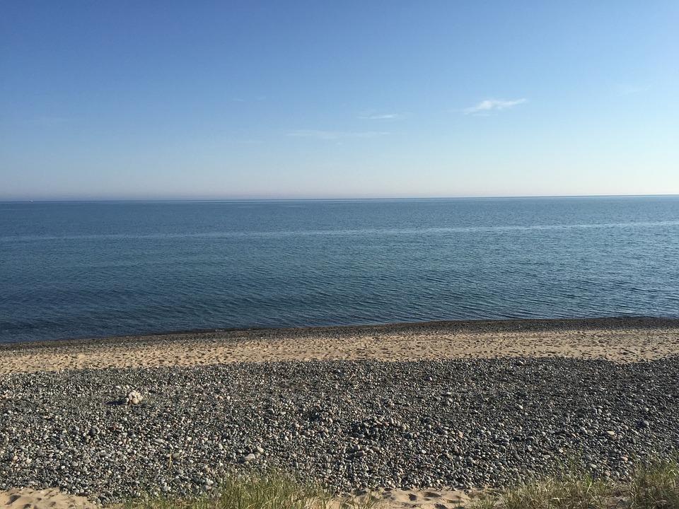 Water, Rocks, Shore, Sand, Beach, Lake, Superior, Blue