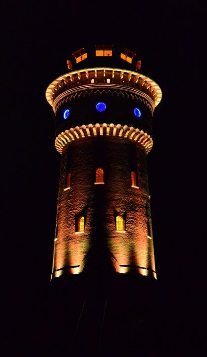 Led Lighting, Water Tower, Tower, Borkum, Water Supply