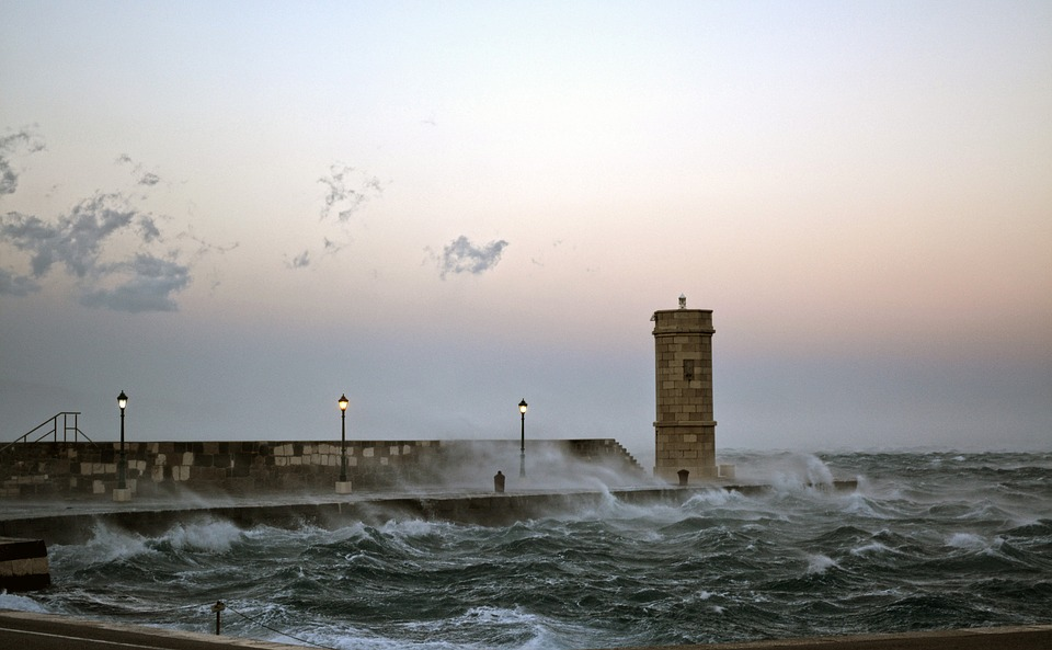 Lighthouse, Tempest, Storm, Sea, Ocean, Sky, Water