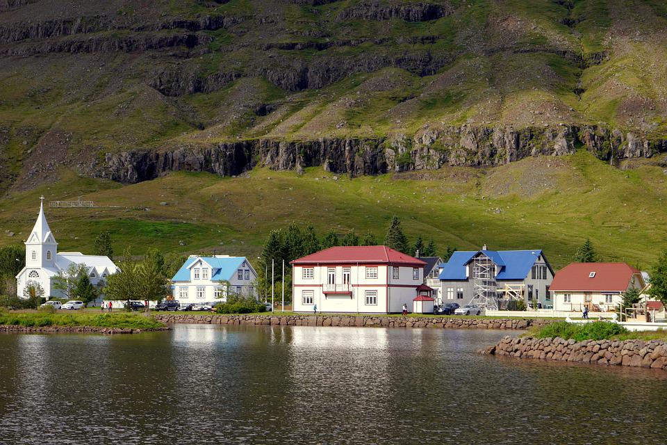 Houses, Water, The Fjord, Rocks, Mountains