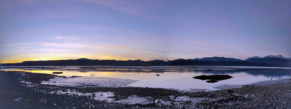 Bay, Mountains, Tidelands, Nature, Water, Sunset