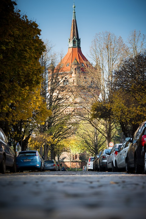 Water Tower, Worms, City, Colorful, Color, Avenue, Road