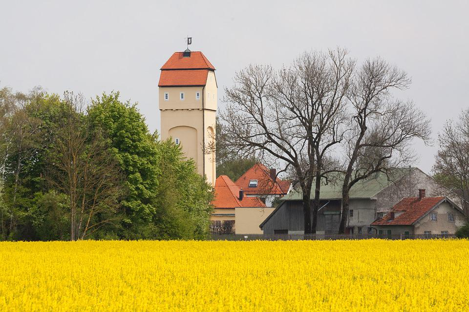 Water Tower, Oilseed Rape, Field Of Rapeseeds, Tree