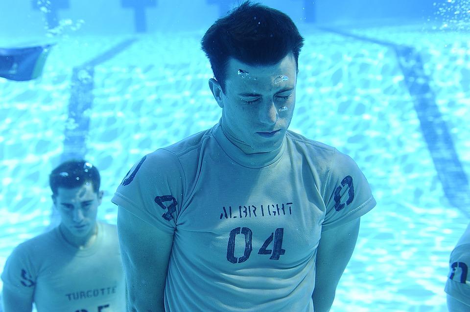 Pool, Water, Men, Underwater, Holding Breath, Training