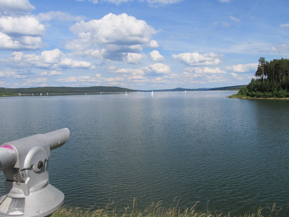 Telescope, View, Viewpoint, Brombachsee, Lake, Water