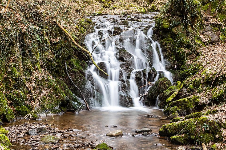 Waterfall, Volcanic Stones, Water, Moss, Forest, River