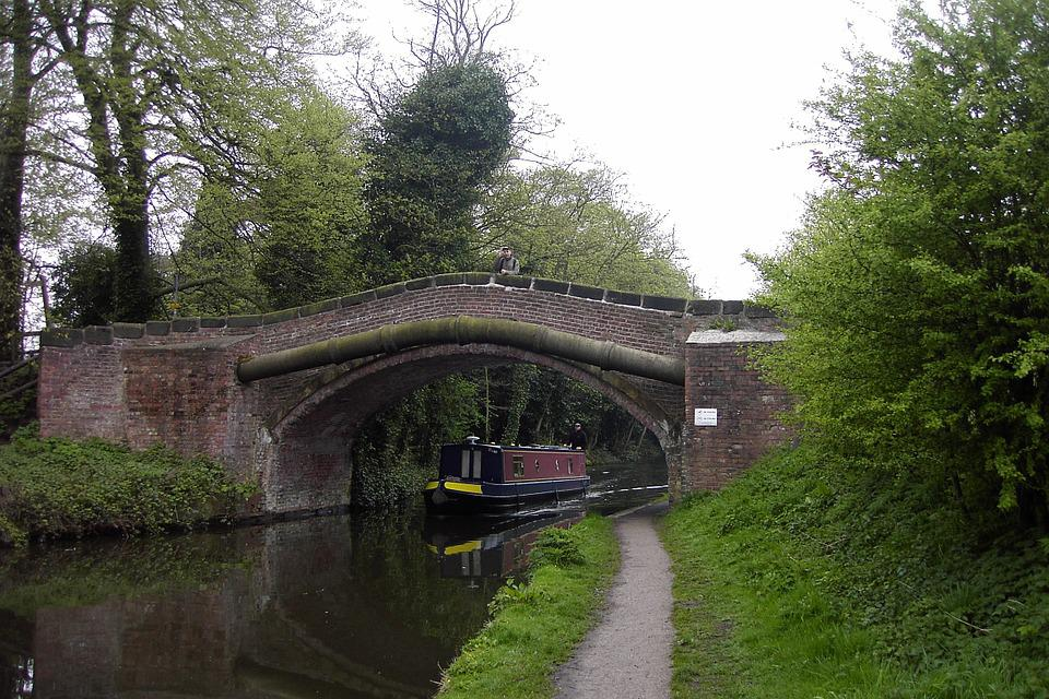 Canal, Bridge, Footpath, Warrington, Water