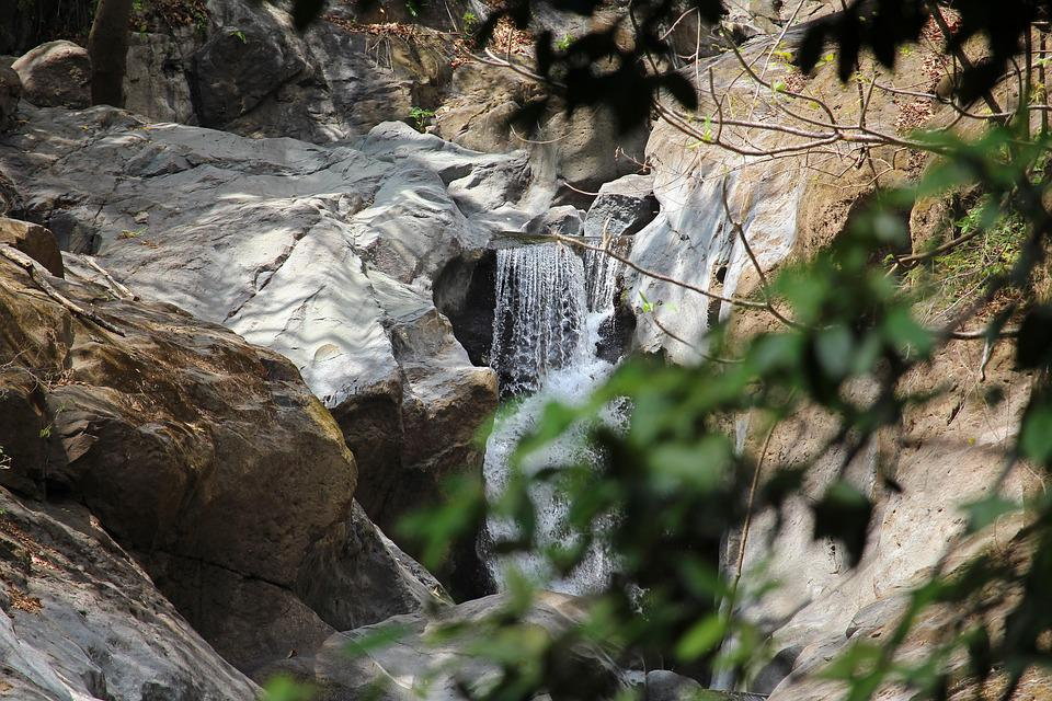 Jungle, Waterfall, Water, Trees, Rocks, Leaves, Nature