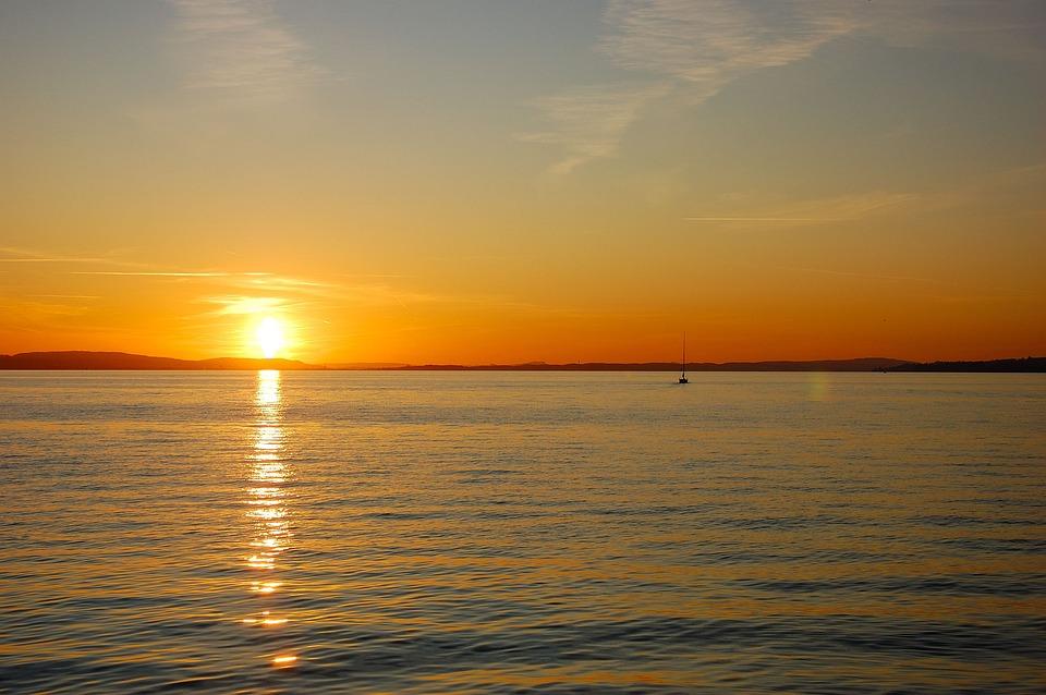 Lake Constance, Water, Dusk, Waters, Panorama, Sky