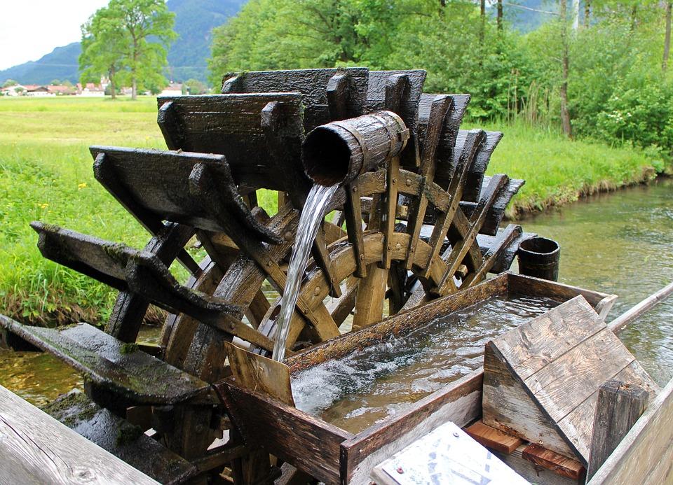 Mill Wheel, Waterwheel, Water Power, Water, Bucket