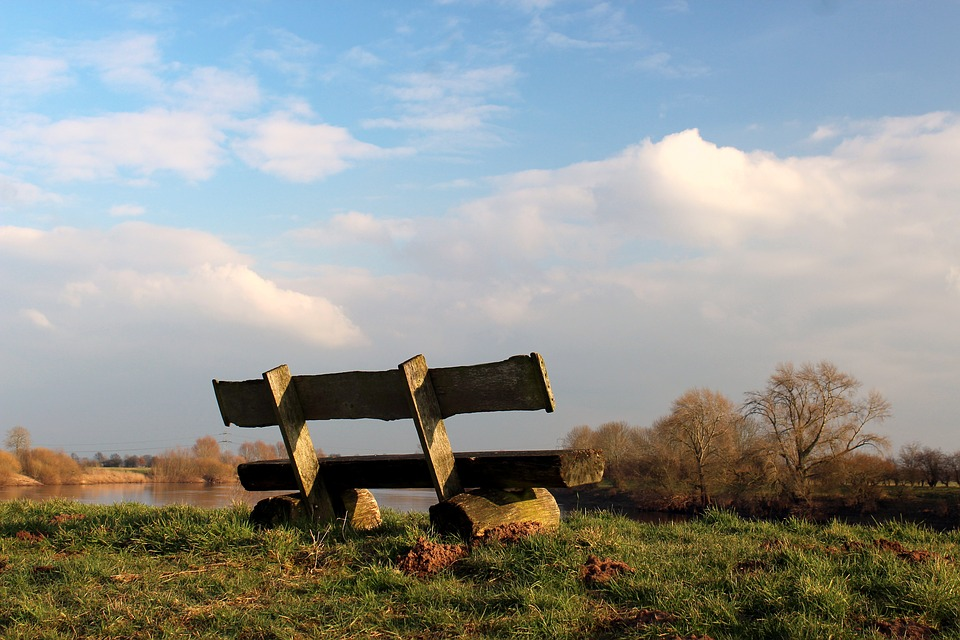 Bank, Sit, Rest, River, Weser, Water, Grass, Sky