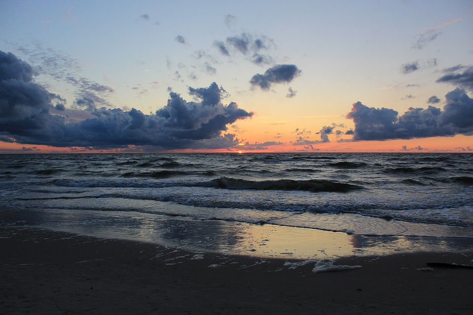 Sea, West, The Sun, Clouds, In The Evening, Water