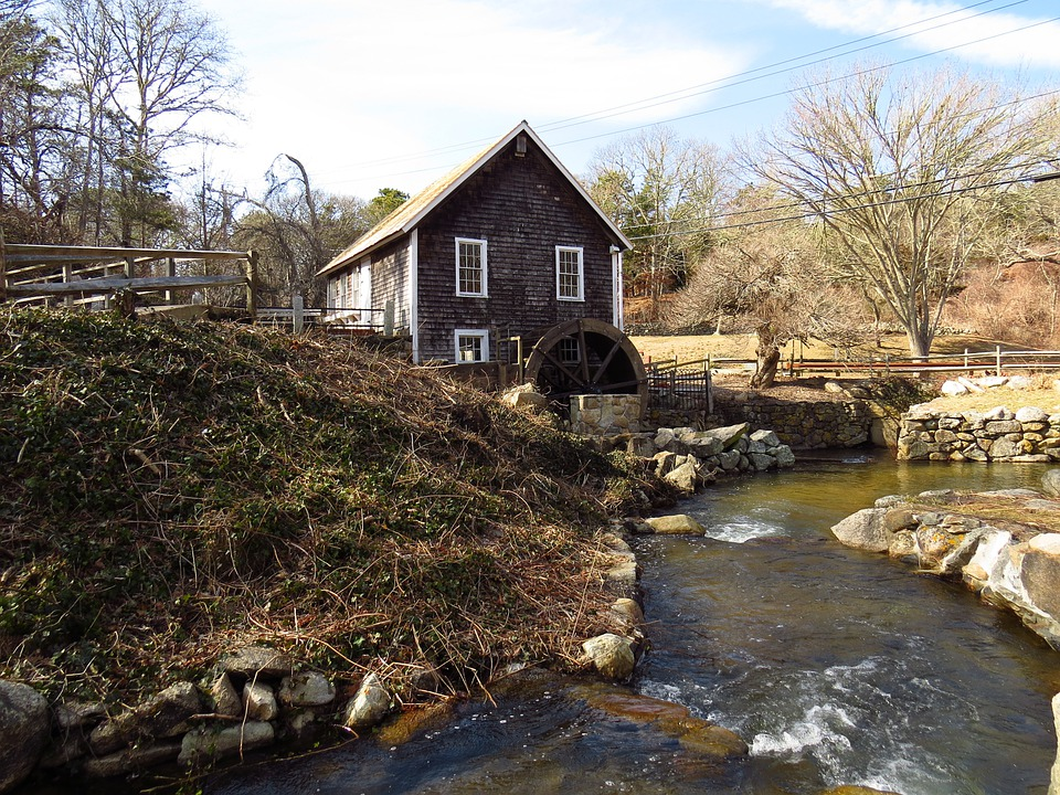 Grist Mill, Water Wheel, Countryside, Brewster